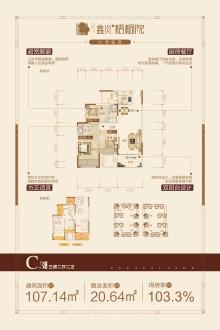 鑫炎·梧桐院C3户型3房两厅两卫