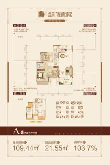 鑫炎·梧桐院A3户型3房两厅两卫